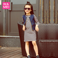 Moda causal vestido da menina para crianças roupas de outono calça jeans colete com vestido listrado vestido de manga longa 2 pcs roupas gota grátis
