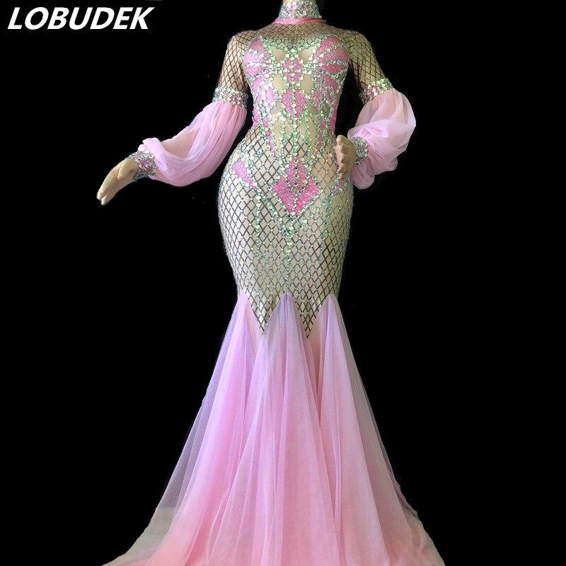 Sexy rose robe de traînée brillant cristaux robe discothèque femmes chanteur Star scène Costume bal fête Catwalk Performance Costume