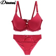 4c971117977d DAINAFANH Brand embroidered D DD EFrench lingerie large short dress cotton  women sexy lingerie set Push Up Lace Lingerie Big Und