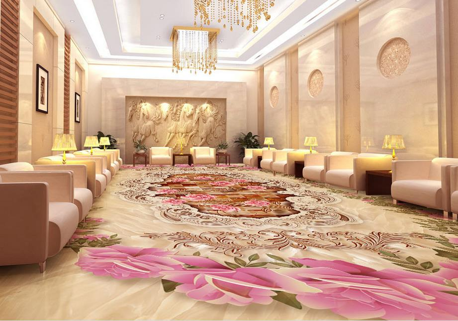3d flooring European style Pattern marble Roses pattern 3d floor wallpaper murals Custom pvc self adhesive wallpaper Material|wallpaper material|floor wallpaper|3d floor wallpaper - title=