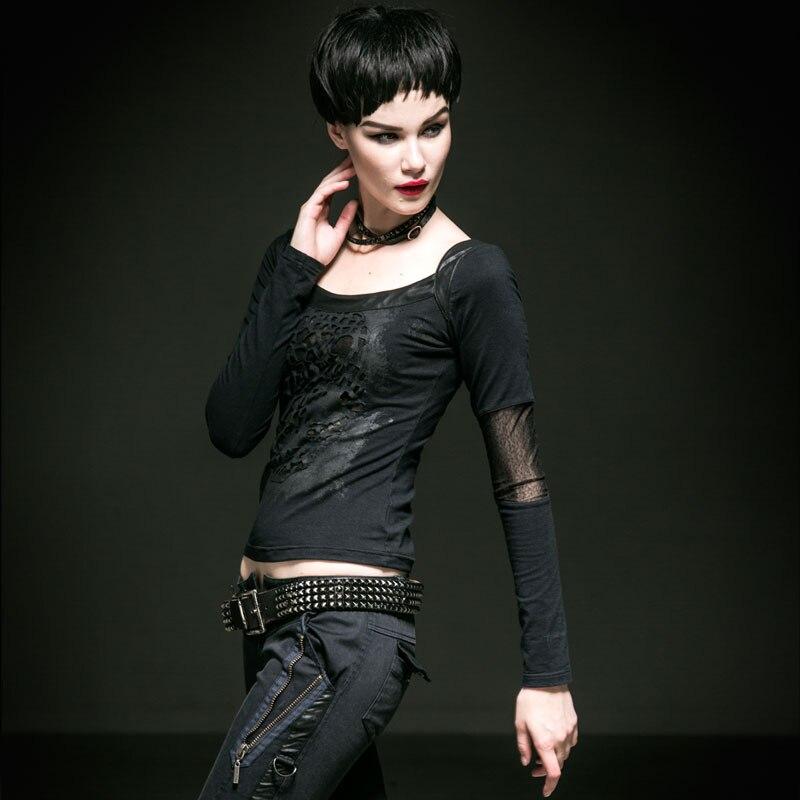 Punk gothique femmes trous T-Shirts vapeur Punk noir évider T-Shirts hauts