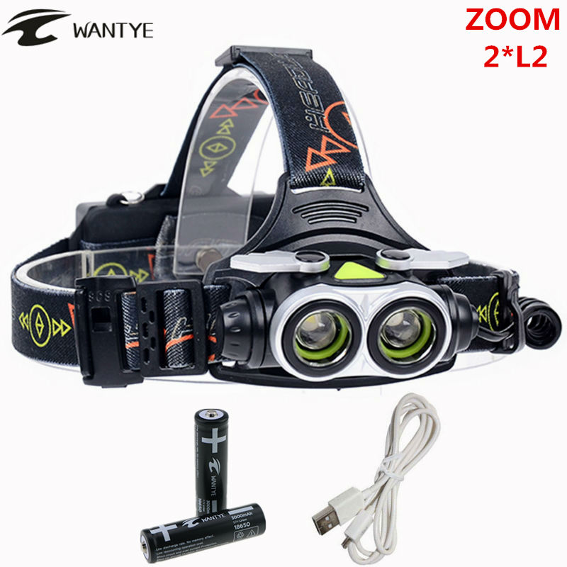 6000LM Zoomable Head lamp XML L2 Headlamp Headlight USB LED Head Flashlight Torch AA/18650 Rechargeable battery light 30w led cob usb rechargeable 18650 cob led headlamp headlight fishing torch flashlight