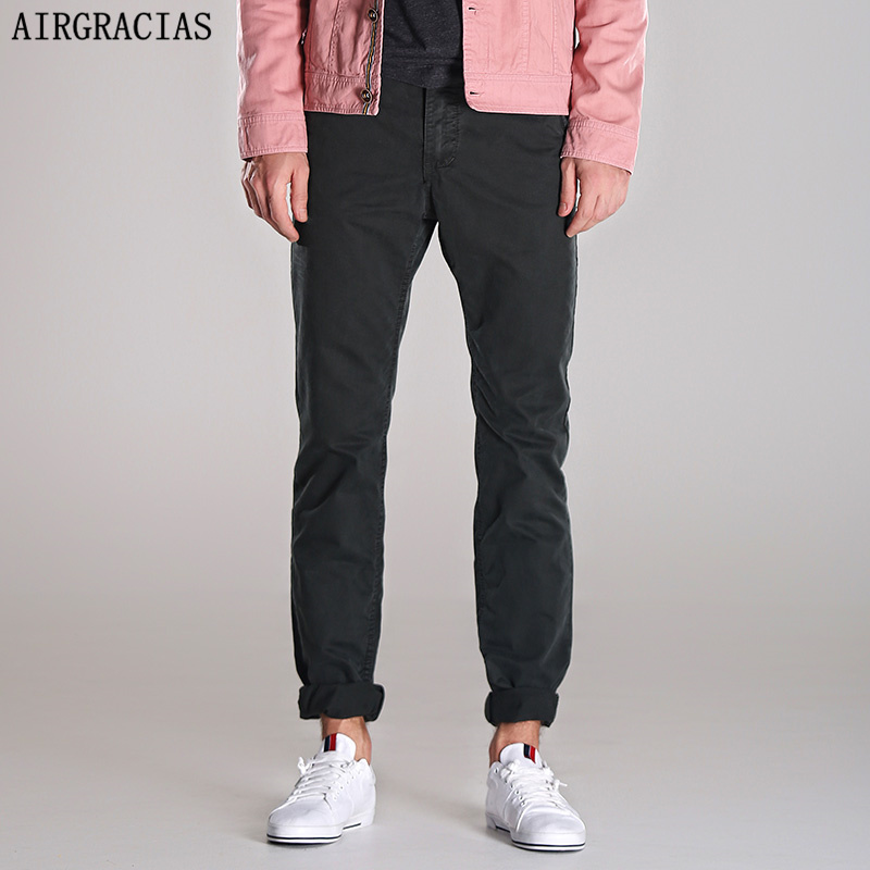Airgracias winter british style new thick warm cargo pants black dark grey military style casual high