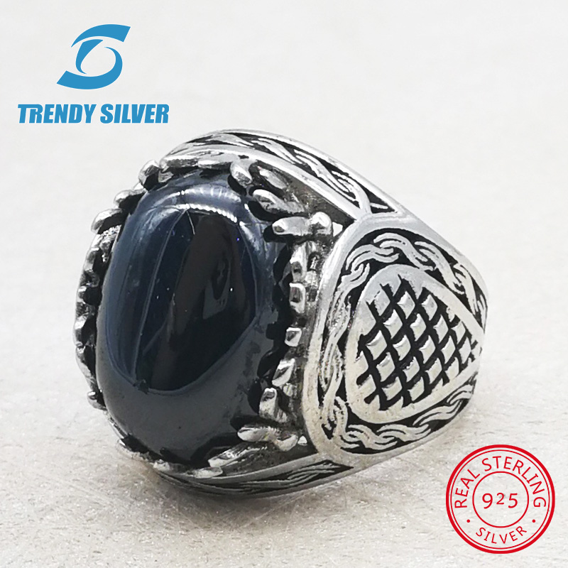Argent 925 bijoux fins homme anneaux hommes accessoires turquoise pierres précieuses onyx naturel agate en gros À LA MODE ARGENT TCR826