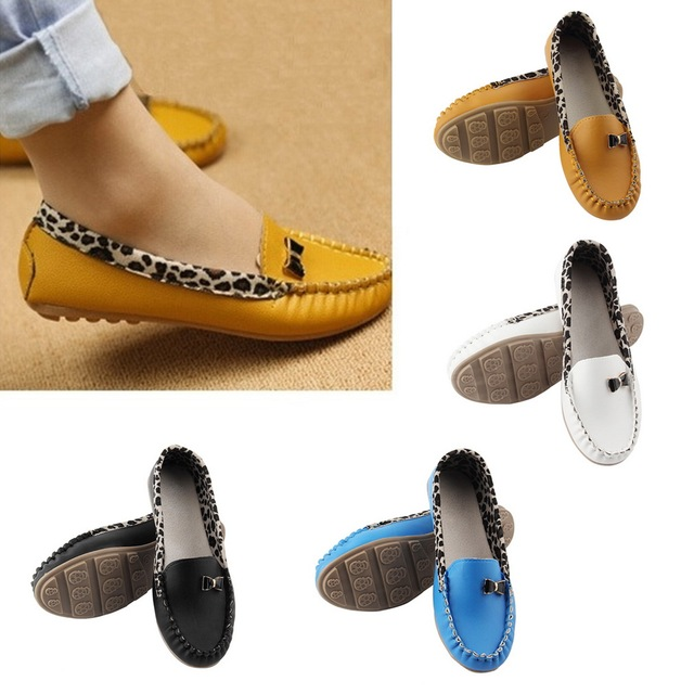 Fashion Women Leather Leopard Casual Slip On Dolly Ballet Flat Heel Loafer Shoes 2016 Hot Sale
