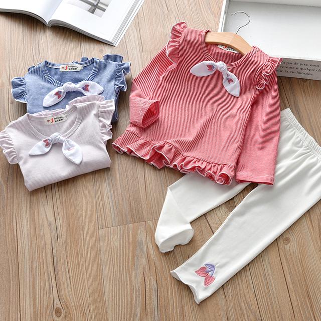Girls bow-knot, Long-Sleeved T-Shirt + White Leggings