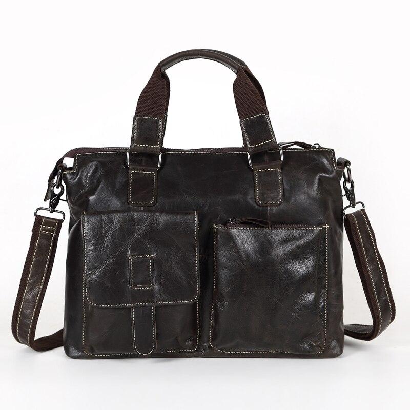 ФОТО High Quality Vintage Genuine Leather Briefcase Cowhide Natural Skin Men Messenger Bags 14'' Laptop Portfolio #M260