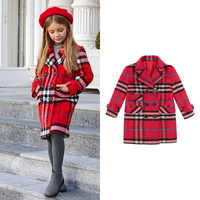 Одежда для девочек, классические теплые стеганые двубортные шерстяные пальто