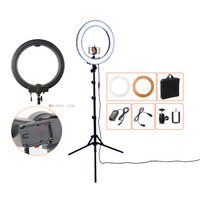 Fusitu Camera Photo Studio Phone Video 18 55W 5500K 240 LED Photography Dimmable Ring Light Lamp with battery Slot with Tripod