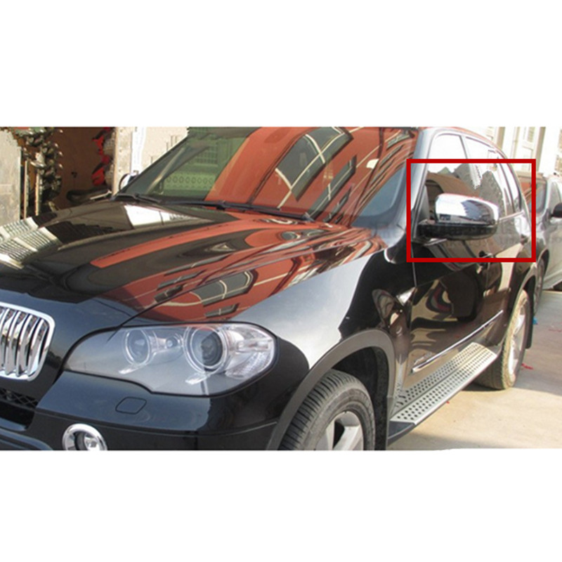 Fit For BMW X5 E70 2008 2009 2010 2011 2012 2013 Car rearview Mirror Cover Trim side mirror cover abs chrome 2pcs per set abs chrome door body side protector trim fit for range rover evoque 2011 2012 2013 2014 6 pcs per set