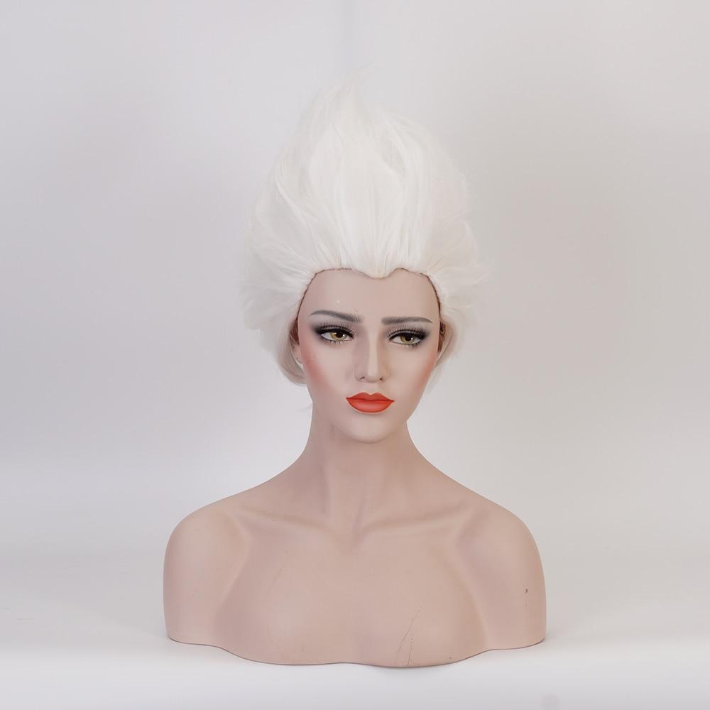 Cosplay Wigs Rick Sanchez Morty Short Synthetic Ursula Wig-Cap Heat-Resistant Pure-White