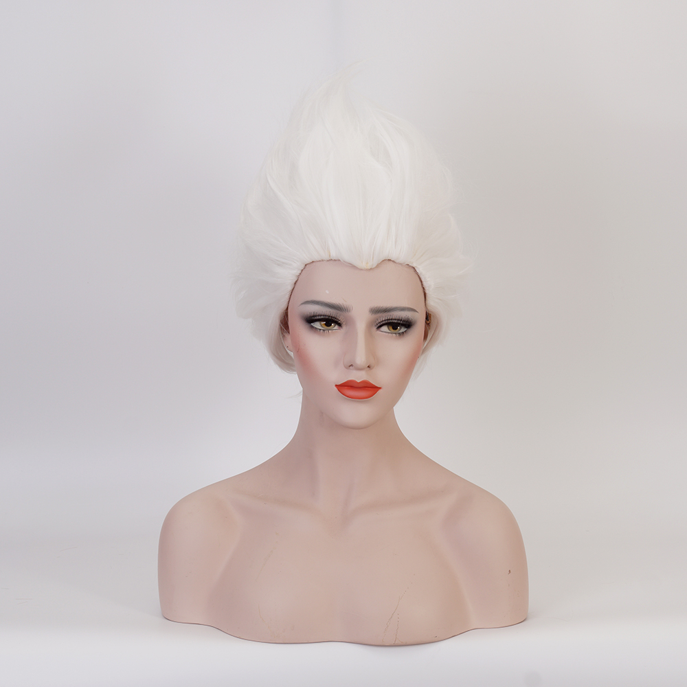 Ursula Wig Rick Morty Rick Sanchez Cosplay Wigs Short Synthetic Pure White Wigs Heat Resistant + Wig Cap