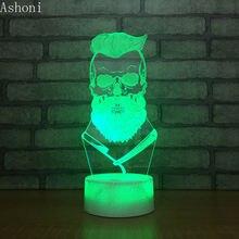Новый портрет 3d настольная лампа светодиодный сенсорный 7 цветов