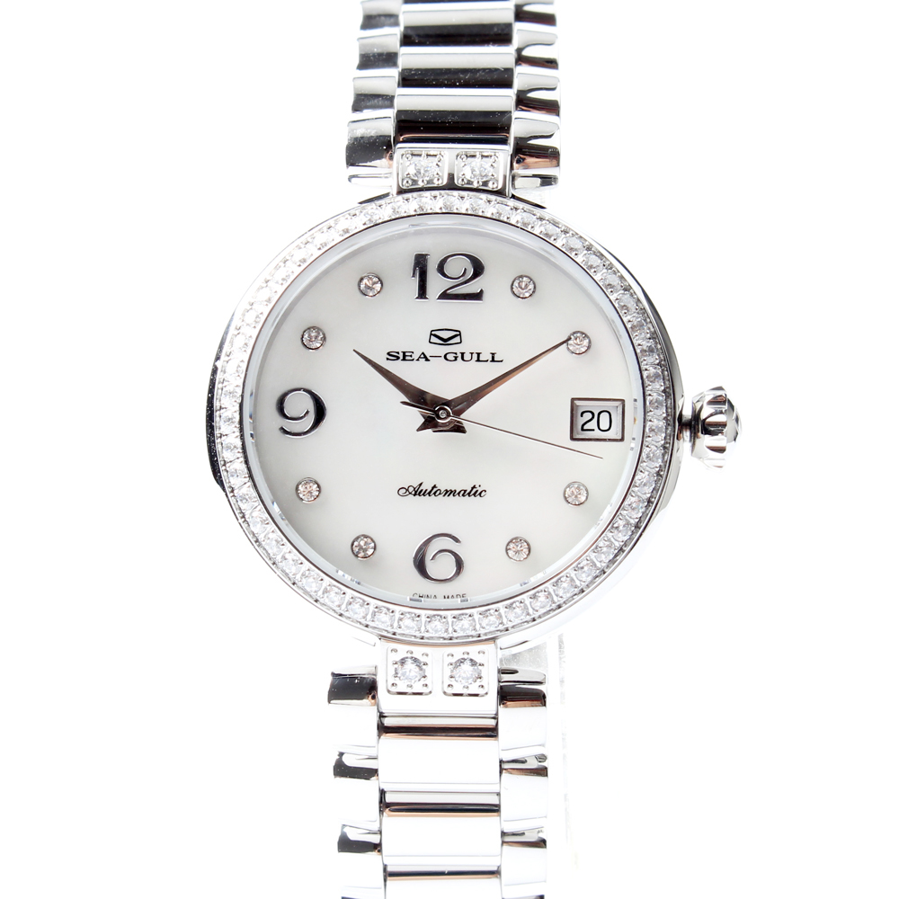 Seagull Rhinestones Bezel Mother of Pearl Dial Women Automatic Mechanical Fashion Watch 716.755L mother of pearl хлопковое платье