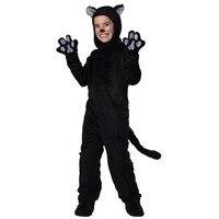 Kids Black Cat Costume Little Kitten Cosplay Costume Animal Onesie Fancy Dress Jumpsuit With Headwear Paws