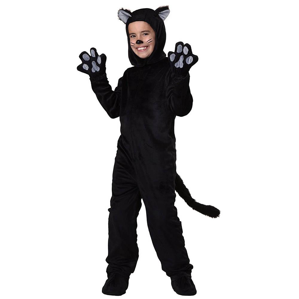 nios negro traje de gato pequeo gatito cosplay animal onesie patas de disfraces jumpsuit con headwear nios pequeos para nio