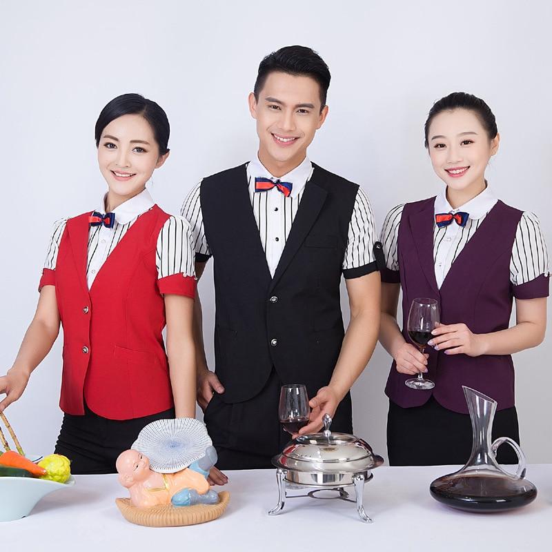 Hotel Work Clothes Summer Waitress Women's Uniform Jacket Bar Dining Short Sleeve Cafe Waiter KTV Overalls Without Bow Tie H2413