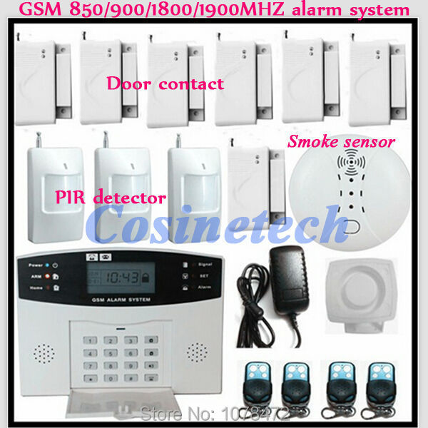drop shipping Kit Police siren,Smoke Sensor,PIR detector,Home/office/shop SMS Auto-dial home security quad-band GSM Alarm System home security quad band gsm sms alarm system w detector sensor kit remote control white