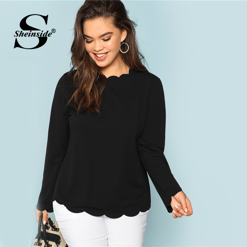 Sheinside Plus Size Black Elegant   T     Shirt   Women Solid Long Sleeve Ladies Workwear Scallop Edge Autumn Top 2018 Womens Clothing