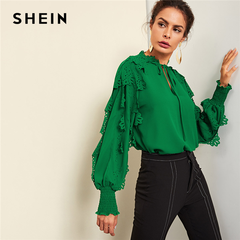 SHEIN Green Minimalist Highstreet Office Lady Tie Neck Shirred Panel Laser  Cut Streetwear Blouse Autumn Women Workwear Shirt Top-in Blouses   Shirts  from ... 52deab38d9fa
