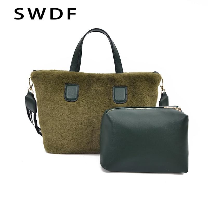 SWDF Luxury Women Design Crossbody Winter Plush Handbags Fur Hand Bag Bucket Bag SAC A Main Shoulder Messenger Bag Ladies Tote