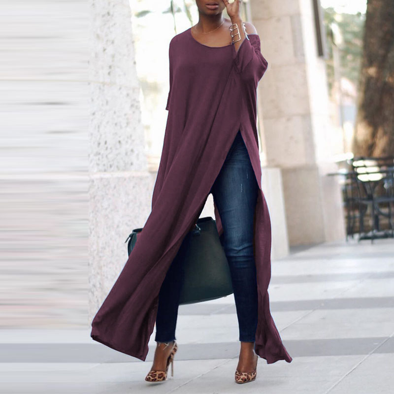 S-5XL ZANZEA Autumn Elegant Women Off Shoulder 3/4 Sleeve Solid Long Shirt Vestido Ladies Work OL Blouse Party High Split Blusas