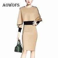 AOWOFS Formal Elegant Dress 2 Kinds Of Wear Method Khaki Autumn Winter Dress For Women Cloak