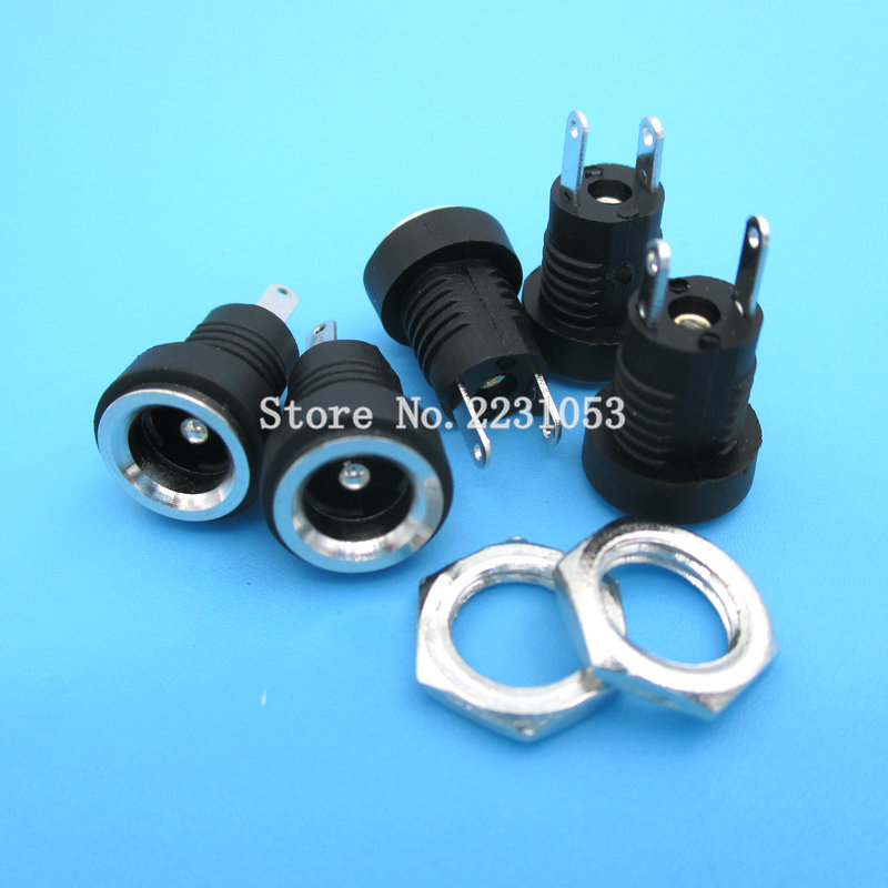10PCS/LOT DC022B 3A 12v DC Power Supply Jack Socket Female Panel Mount Connector 5.5X 2.1mm Plug Adapter 2 Pins 5.5*2.1 DC-022B 10pairs 12v 3a male plug female plug socket panel mount jack dc connector male female plugs 2 1mm x 5 5mm