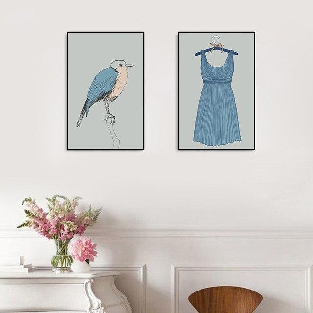 Online Shop Burung Biru Dan Rok Cantik Kanvas Dan Cetakan Dinding