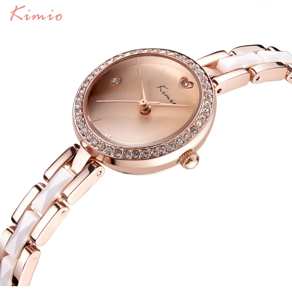 KIMIO Women Watches Top Brand Stainless Steel Imitation Ceramic Strap Quartz Watch Love Heart Rhinestone Bracelet Watch Horloge chris botti live with orchestra