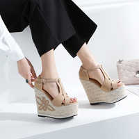 Wedges Sandals Thick Bottom Peep Toe High Platform Bohemia Summer Shoes For Women