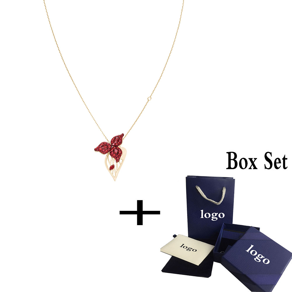 SWA RO 2019 Original New GRACEFUL BLOOM Pendant Female Clavicle Necklace Full of festive atmosphere Red Engagement Jewelry GiftSWA RO 2019 Original New GRACEFUL BLOOM Pendant Female Clavicle Necklace Full of festive atmosphere Red Engagement Jewelry Gift