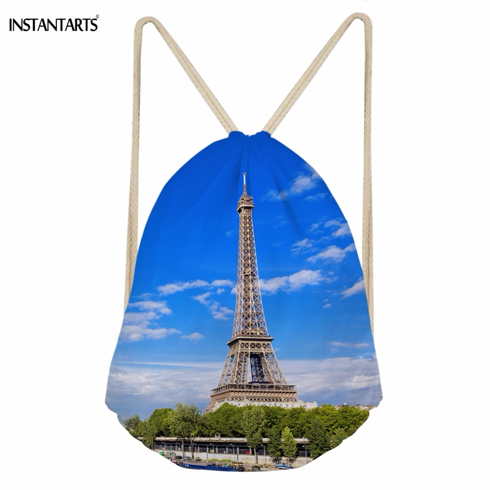 INSTANTARTS Casual Landscape Sky Paris Eiffel Tower Print Women Men Drawstrings Bags Soft Travel Beach Backpack Teen Storage Bag