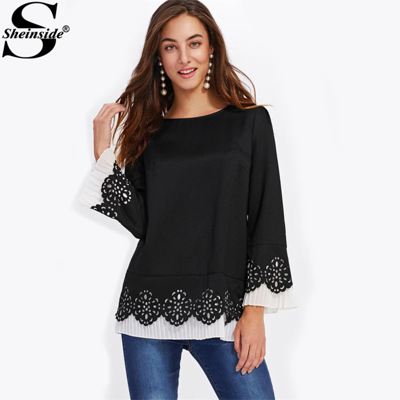 Sheinside Contrast Pleated Hem Scallop Laser Cut Out Blouse 2017 Round Neck Flounce Sleeve Ruffle Top