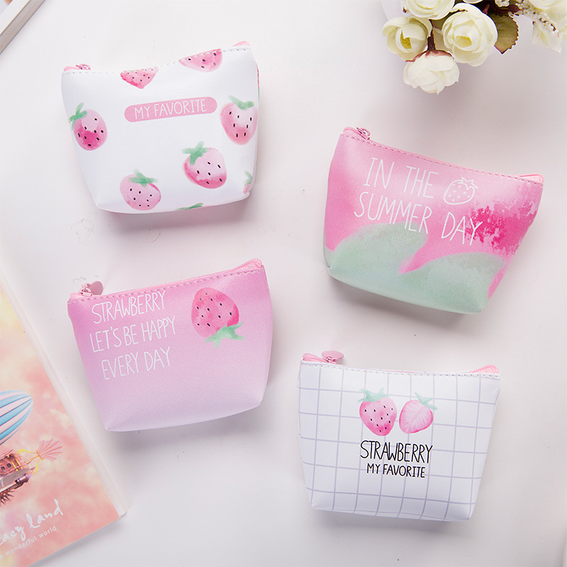 Sweet Strawberry Leather Coin Purse Women Pink Pu Short Wallet For Girls Cute Coins Storage Key Cards Bag Pouch