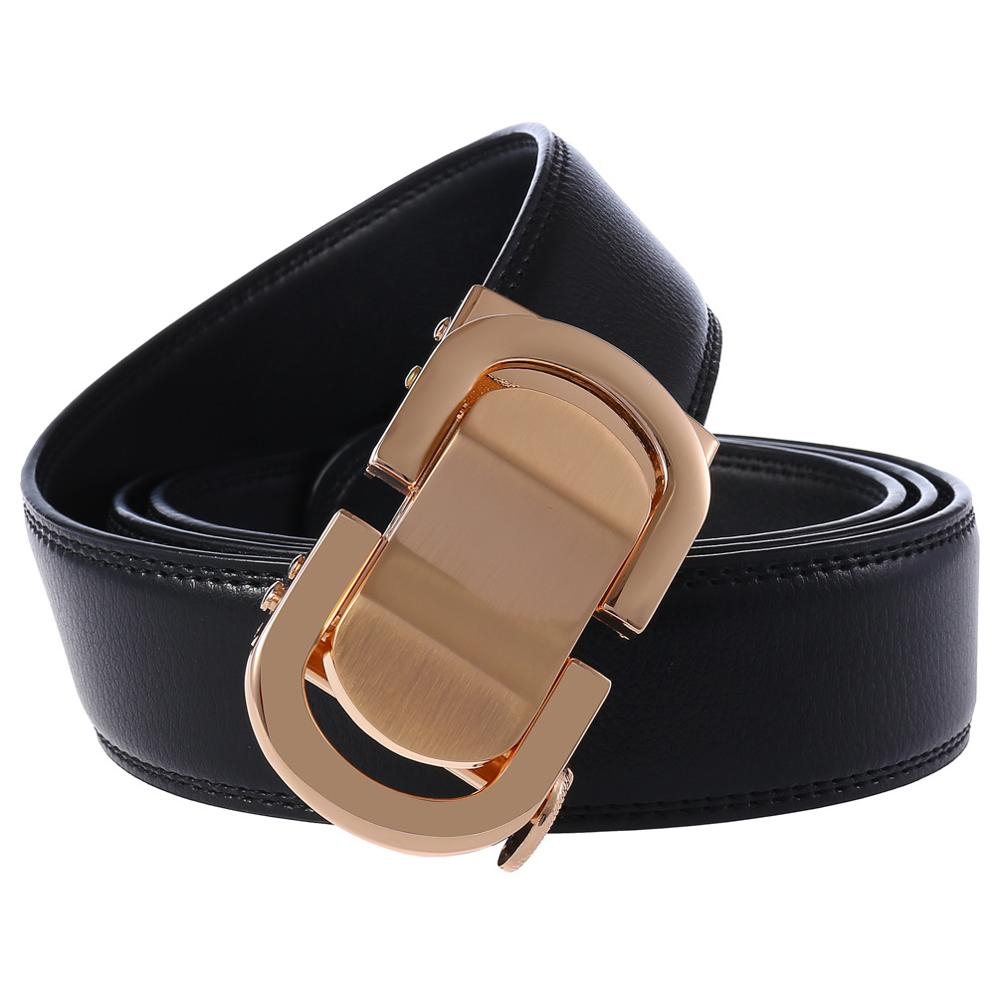 Genuine Leather Belt Men High Quality Business Style Male Belt with Automatic Buckle Black Cowshin Mens Belts in Men 39 s Belts from Apparel Accessories