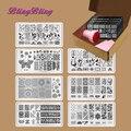7 unids/set Nail Sello placa de la Imagen Para El Diseño de Uñas de Arte Que Estampa la Placa Plantilla Platea Stamper Scraper Kits Flor Del Cordón Patrón de Mariposa
