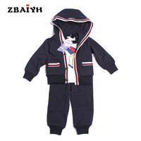 2017 New Baby Clothing Sets Spring Autumn 3pcs Sets Hooded Coat Tshirt Pant Kids Tracksuit Boys