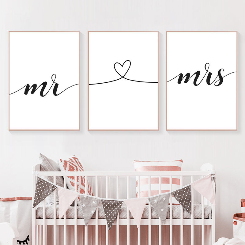 Mr Mrs Family Simple Quote Wall Art Canvas Poster Heart Shape Print Couple Anniversary Painting Picture For Room Decor HD2615