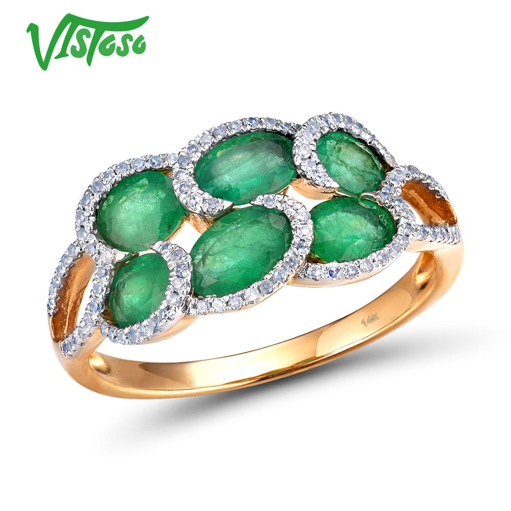 VISTOSO Genuine 14K 585 Yellow Gold Luxury Emerald Shiny Diamond Ring For Women Engagement Anniversary Chic Elegant Fine Jewelry