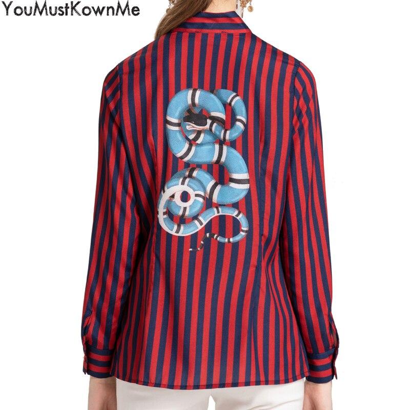 Taille Red Longues Arc Imprimer Plus Youmustknowme Chemises Mode Femmes Blouses À Cou Serpent Rayé Stand Manches La q7wwSxFazO