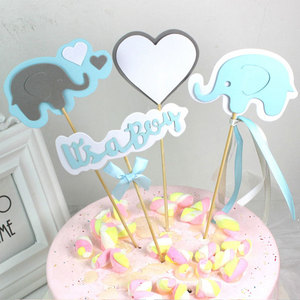 Image 2 - 4 teile/los Cartoon baby elephant kuchen topper geburtstag tasse kuchen dekoration baby dusche kinder geburtstag party hochzeit gunsten versorgung