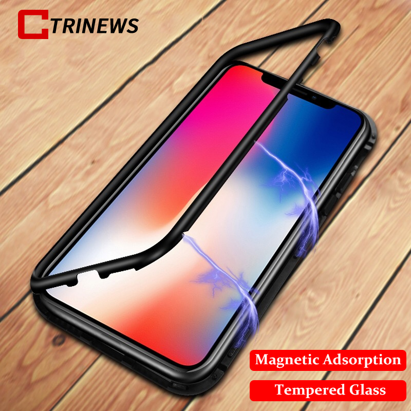 Magnetic Tempered Glass Case For iPhone X 8 8 Plus Metal Frame 360 Full Protection Cover For iPhone 7 7 Plus Transparent Case