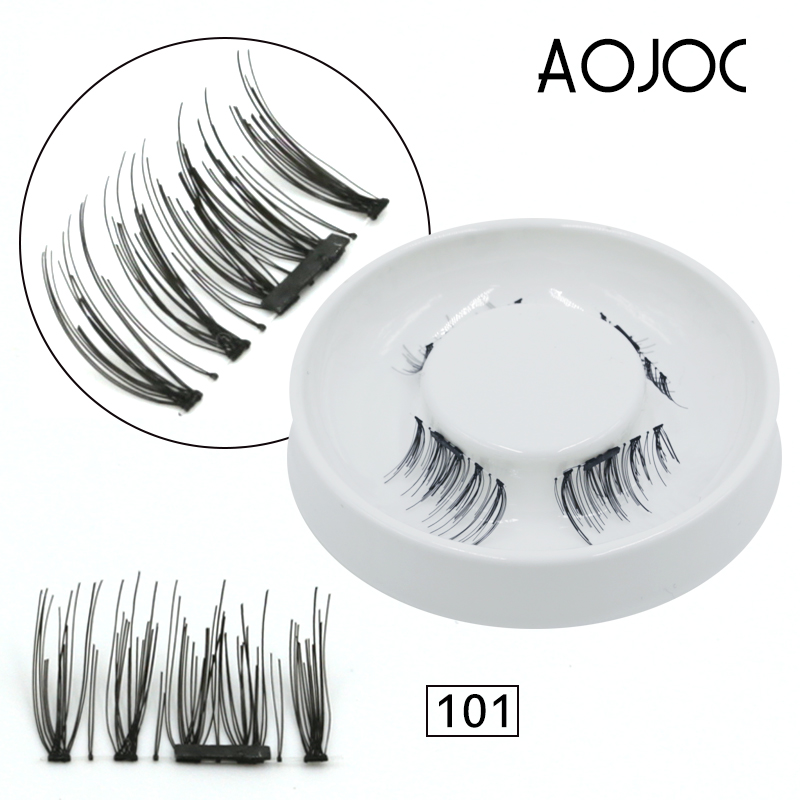 4pcs Easy to Wear 3D Magnetic Eyelash False Eyelash Double Magnet Full Strip Magnetic Lashes Reusable Fake Eye Lashes no glue