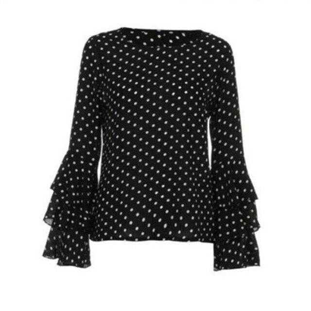 Polka Dot Retro Summer Blouse Womens Ruffles Long Sleeve Casual Chiffon Shirts Ladies Tops Plus Size Clothing 4XL 5XL Blusas 5