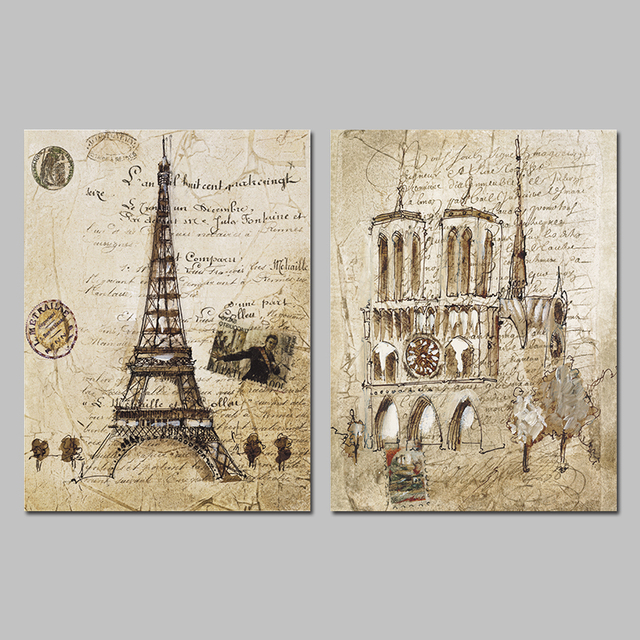Paris Eiffel Tower Post Stamp Letters Decoration Wall Art Pictures Canvas  Paintings For Living Room Home