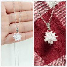 2016 new arrival fashion white ice flower 925 sterling silver pendant necklaces female jewelry wholesale D160406