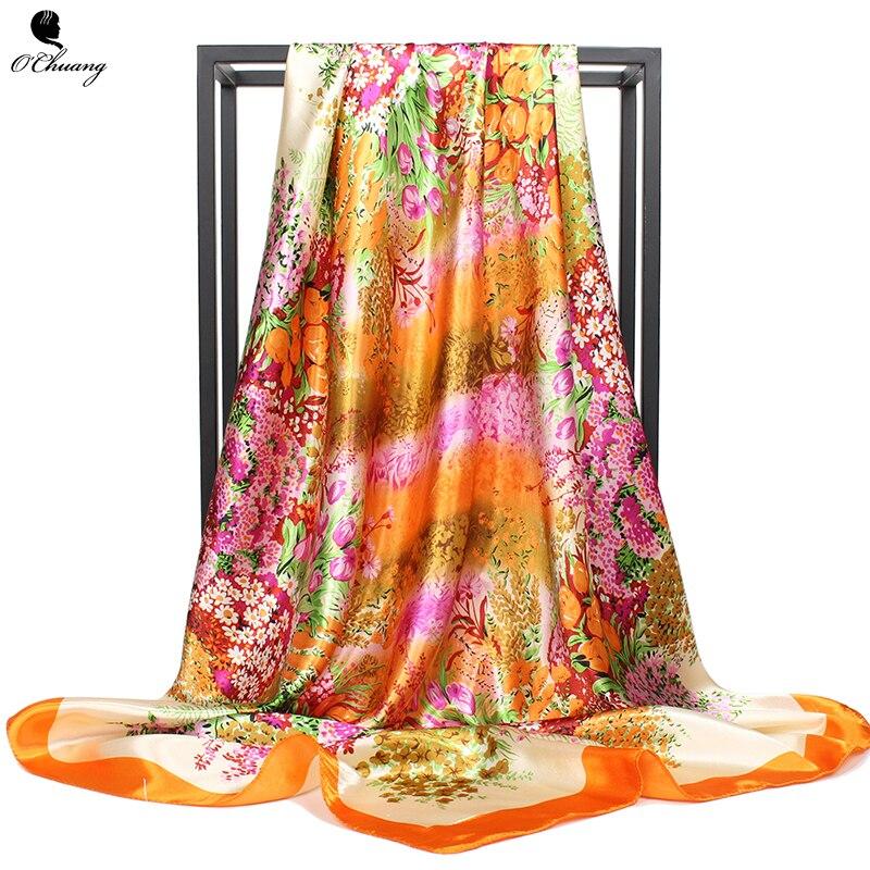 O CHUANG Silk Scarf Women Spring Summer Flowers Printe bandana Cheveux Hijab Shawl Square Head Scarves Wraps 90x90cm