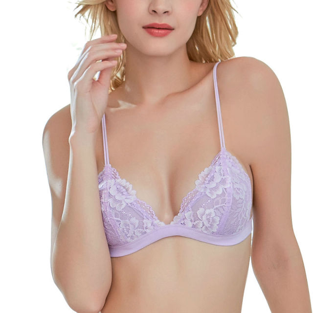 Shitagi Purple Ultra-Thin Transparent Foral Lace Bralette Hot Sexy Seamless Bra Women V-neck Wirefree Invisible Lady Underwear