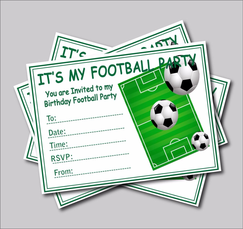aliexpresscom buy 20pcs football invites kids childrens boys football birthday party invitations party supplier decoration a5 size free shipping from - Football Birthday Party Invitations